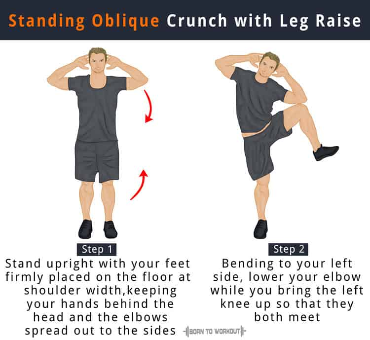 side oblique crunch standing